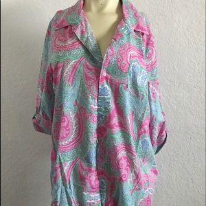LAUREN Ralph Lauren Paisley Long Sleeve Blouse XL